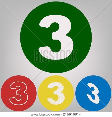 Number 3 sign design template element. Vector. 4 white styles of icon at 4 colored circles on light gray background.