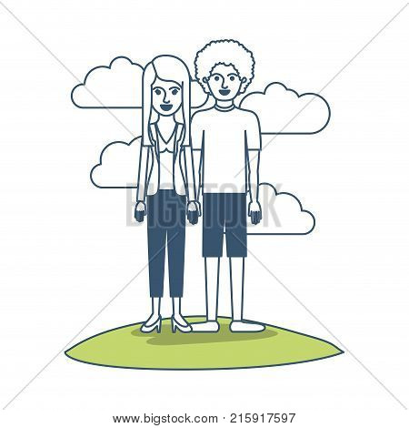 couple in color sections silhouette scene outdoor and her with blouse and jacket and pants and heel shoes with layered hair and him with t-shirt and short pants and shoes with curly hair vector illustration