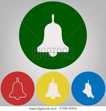 Bell Alarm, hand bell sign. Vector. 4 white styles of icon at 4 colored circles on light gray background.