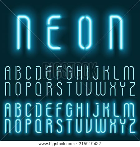 Neon blue light alphabet vector font. Glowing text effect. Neon tube letters on the dark blue background