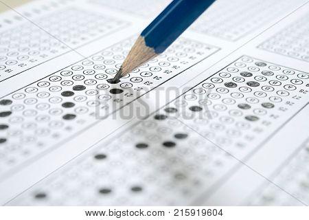 Multiple choice examination form or customer service satisfaction survey.
