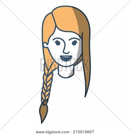 female face with braid and fringe hairstyle in color sections silhouette vector illustration