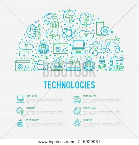 Technologies concept in half circle with thin line icons of: electric car, rocket, robotics, solar battery, machine intelligence, web development. Vector illustration for banner, web page, print media.