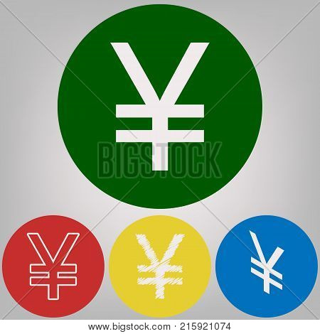 Yen sign. Vector. 4 white styles of icon at 4 colored circles on light gray background.