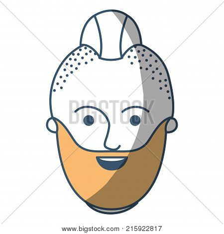 male face with taper fade haircut and beard in color sections silhouette vector illustration