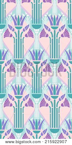 wallpaper pattern of stylized papyrus flowers in art deco style, modern colors