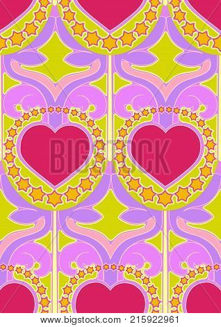 Seamless design of hearts and stars in sixties hippy style, nod to Peter Max