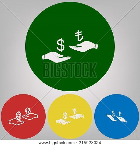 Currency exchange from hand to hand. Dollar and Turkey Lira. Vector. 4 white styles of icon at 4 colored circles on light gray background.