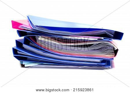 file folder and Stack of business report paper file with white background. - isolated
