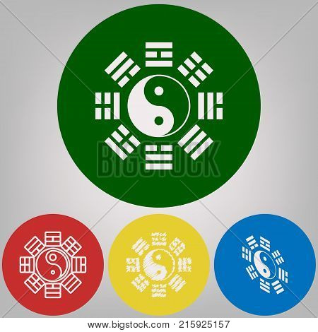 Yin and yang sign with bagua arrangement. Vector. 4 white styles of icon at 4 colored circles on light gray background.