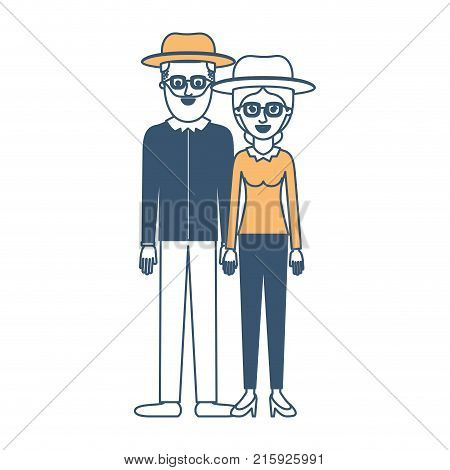 couple in color sections silhouette and both with hat and glasses and him with beard and shirt and pants and shoes and her with blouse long sleeve and pants and heel shoes with collected hair vector illustration