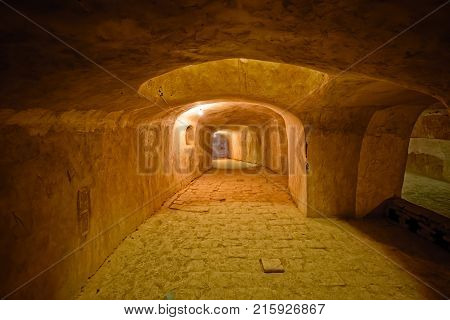 NAIN, IRAN - MAY 6, 2015: Underground hall for praying in the old Jame mosque basement in Iran.