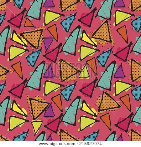Antonio Gaudi mosaic. Triangle hand drawn vector seamless pattern.