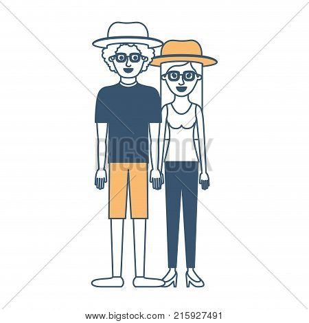 couple in color sections silhouette and both with hat and glasses and him with shirt and short pants and shoes and curly hair and her with blouse and pants and heel shoes with long straight hair vector illustration