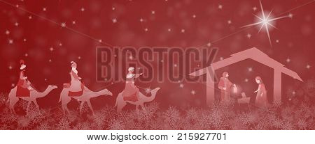Christmas time. Nativity scene with Mary, Joseph, baby Jesus and three kings in Christmas landscape.