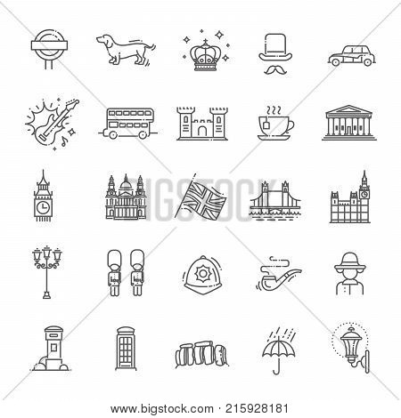 Themed icons of London, linear symbols collection. England showplace, isolated vector illustration