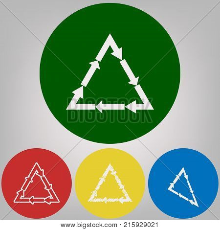 Plastic recycling symbol PVC 3 , Plastic recycling code PVC 3. Vector. 4 white styles of icon at 4 colored circles on light gray background.