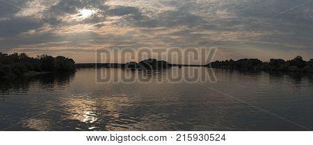 panorama view of sunset on the Zambezi river in zambia