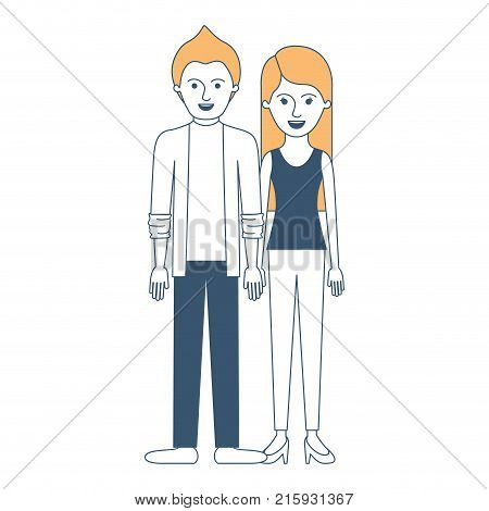 couple in color sections silhouette and him with shirt and jacket and pants and shoes with short hair and her with t-shirt sleeveless and pants and heel shoes with long straight hair vector illustration