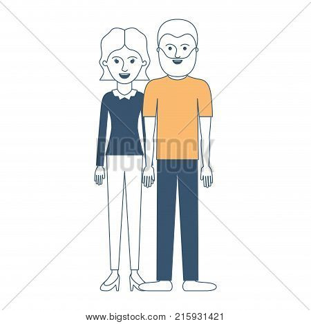 couple in color sections silhouette and her with blouse long sleeve and pants and heel shoes with short wavy hair and him with t-shirt and pants and shoes with short hair and beard vector illustration
