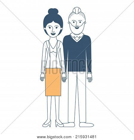 couple in color sections silhouette and her with blouse and jacket and skirt and heel shoes with collected hair and him with beard and sweater and pants and shoes with taper fade haircut vector illustration