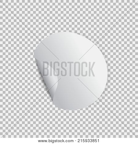 Round sticker with peel off corner on a transparent background. Vector element for advertising and promotional message. Isolated vector illustration. For your design and business.