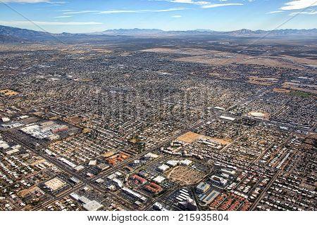 Tucson Arizona aerial view from midtown looking southeast towards Sierra Vista