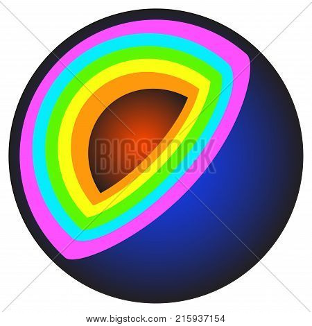 Abstract cut ball with multi-colored layers - vector