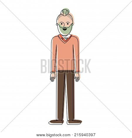 man full body with beard and sweater and pants and shoes with taper fade haircut in watercolor silhouette vector illustration