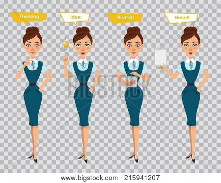 Woman in different poses. Businesswoman in formal wear. Woman standing, thinking, searching on tablet and showing result on tablet. Concept Idea, Shearch, Result