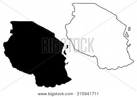 Tanzania map vector illustration , scribble sketch United Republic of Tanzania