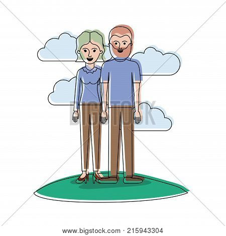 couple in watercolor silhouette scene outdoor and her with blouse long sleeve and pants and heel shoes with short wavy hair and him with t-shirt and pants and shoes with short hair and beard vector illustration