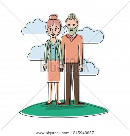 couple in watercolor silhouette scene outdoor and her with blouse and jacket and skirt and heel shoes with collected hair and him with beard and sweater and pants and shoes with taper fade haircut vector illustration