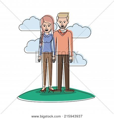 couple in watercolor silhouette scene outdoor and her with blouse long sleeve and pants and heel shoes with braid and fringe hairstyle and him stubble beard and sweater and pants and shoes with side parted hairstyle vector illustration