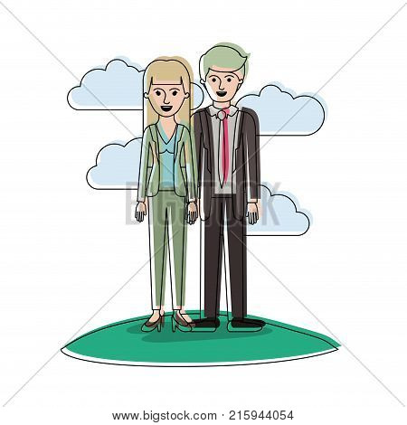 couple in watercolor silhouette scene outdoor and her with blouse and jacket and pants and heel shoes with straight long hair and him with suit and tie and pants and shoes with short hair vector illustration