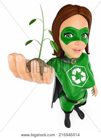 3d environment people illustration. Woman superhero of recycling with a plant growing in hand. Isolated white background.