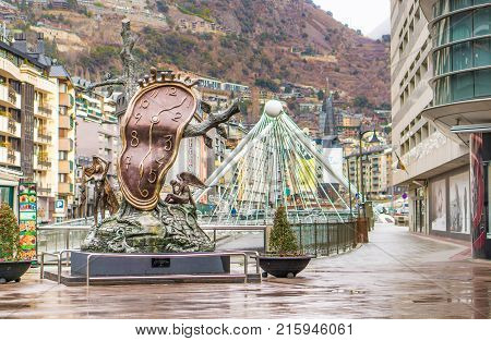 ANDORRA LA VELLA, ANDORRA - JANUARY 10, 2017: La Noblesse du Temps (Nobility of Time) monument in Andorra la Vella city center. Editorial.