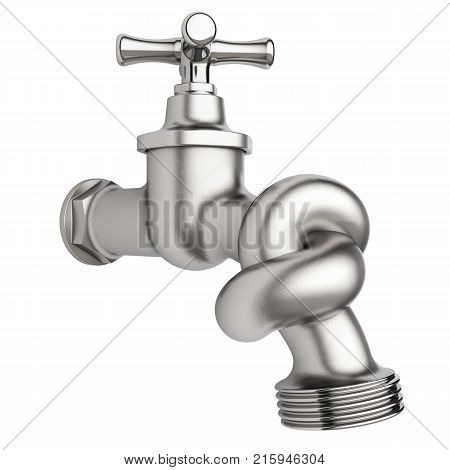 Faucet with tied knot isolated on white background 3D rendering