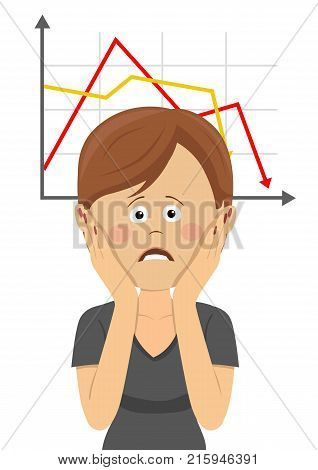 Young bankrupt woman clutching head over chart going down on white
