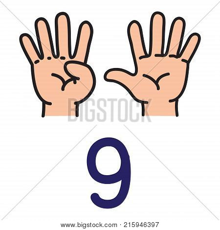 Kid's hand showing the number nine sign by fingers. Icon of hand and fingers for counting education . Childrens vector illustration