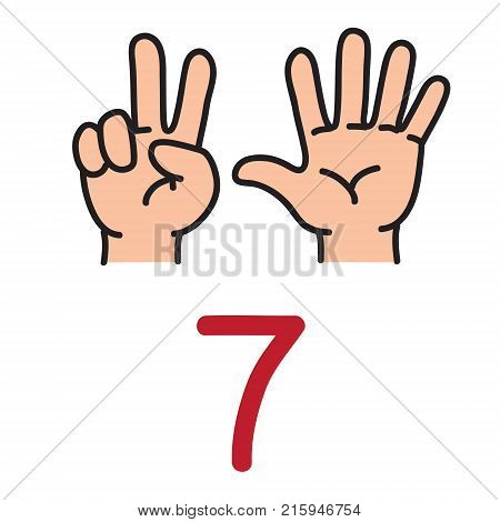 Kid's hand showing the number seven by fingers. Icon of hand and fingers for counting education . Childrens vector illustration