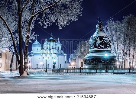 Veliky Novgorod Russia. The monument Millennium of Russia and St Sophia Cathedral in Veliky Novgorod in winter night. Night city view of Veliky Novgorod Russia architecture