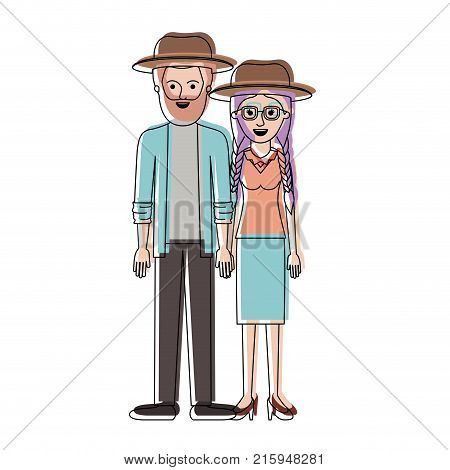 couple in watercolor silhouette and both with hat and him with beard and shirt and jacket and pants and shoes and her with glasses blouse and skirt and heel shoes with braided hair vector illustration