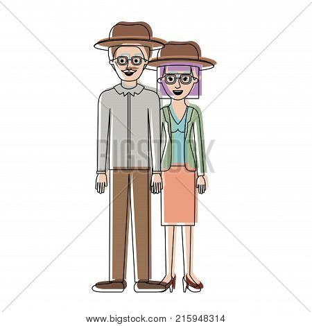 couple in watercolor silhouette and both with hat and glasses and him with moustache and shirt and pants and shoes and her with blouse and jacket and skirt and heel shoes with mushroom hairstyle vector illustration