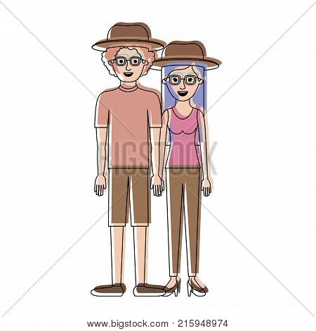couple in watercolor silhouette and both with hat and glasses and him with shirt and short pants and shoes and curly hair and her with blouse and pants and heel shoes with long straight hair vector illustration