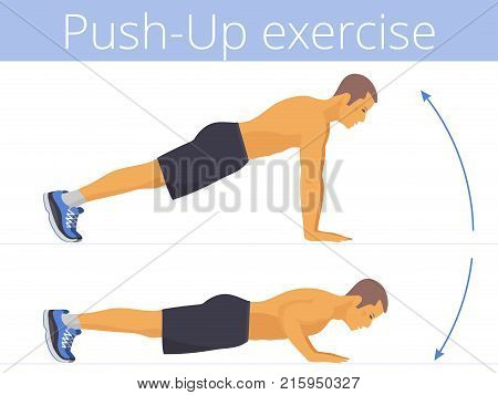 The sporty caucasian man in the sportswear is doing the push-up exercise. Flat illustration of young strong boy training in push up. Vector active people set for sport, fitness design, infographic.