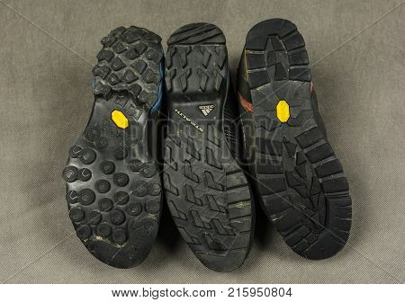Niedomice Poland - November 29 2017: Different shoe soles used in touring shoes by two leading manufacturers ie Vibram and Stealth.