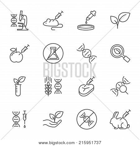 GMO set of vector icons line style