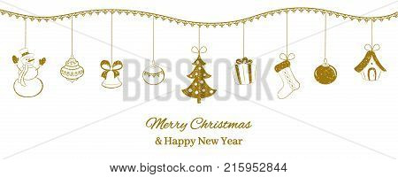 Festive horizontal banner. Golden Christmas pendants on a white background. Snowman, bell, ball, tree, gift, sock, fairy tale house. Hand drawing style. Vector illustration.