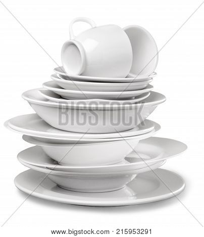 White dish dishware pile table group large